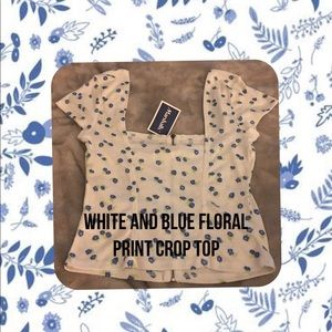 Blue and white floral crop top